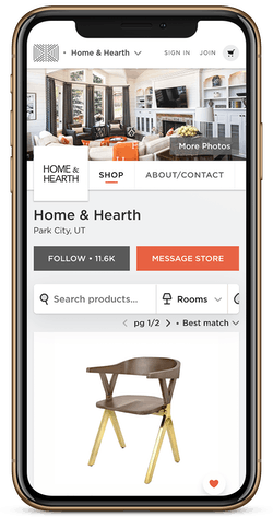 Store page displayed on phone